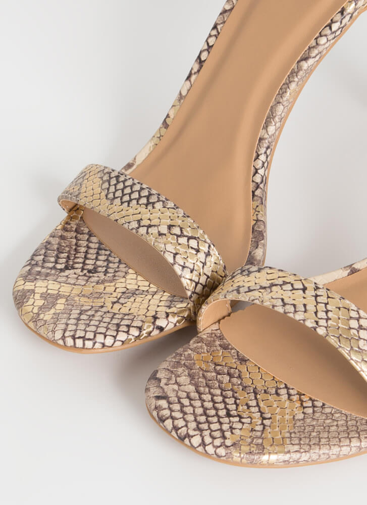 Shed Your Skin Strappy Snake Heels GOLD