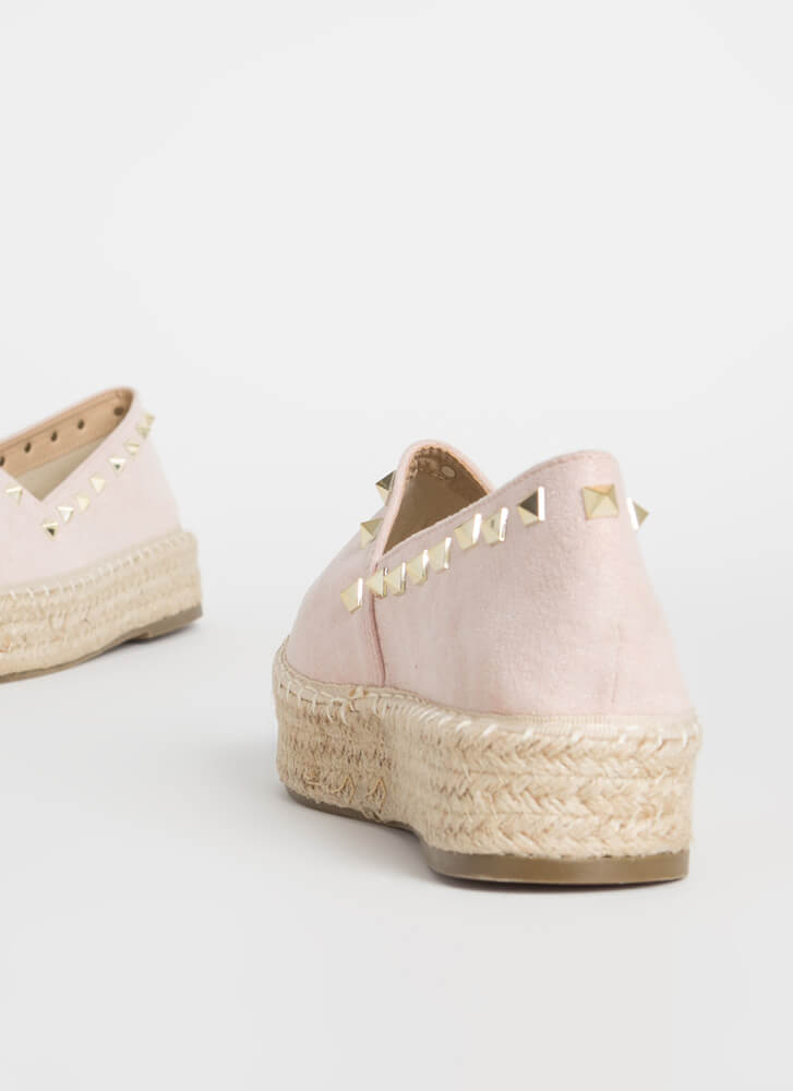 Step Out Braided Studded Moccasin Flats PINK