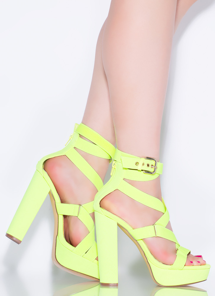 All Straps Chunky Platform Heels YELLOW