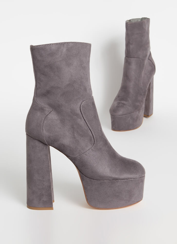 Take Me Higher Chunky Platform Booties GREY