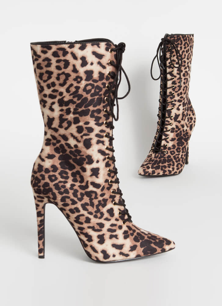 Point It Out Lace-Up Leopard Booties LEOPARD