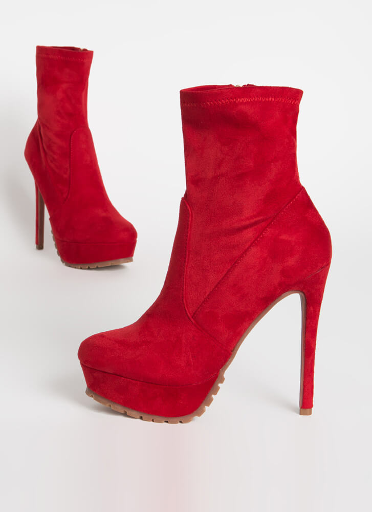 I Lug You So Much Faux Suede Booties RED