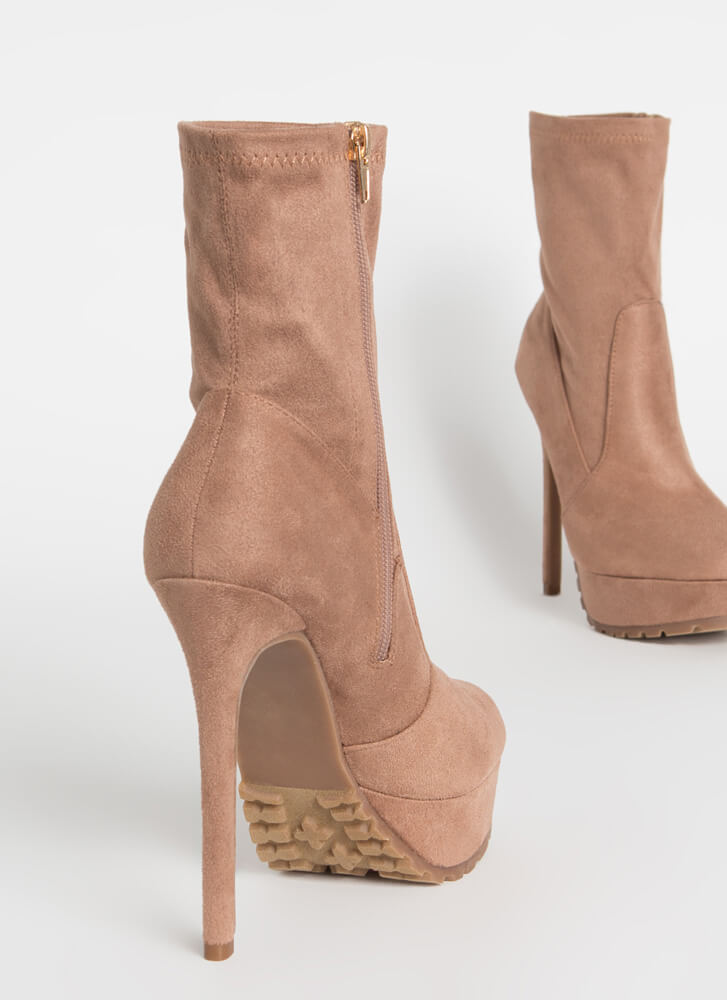 I Lug You So Much Faux Suede Booties TAUPE