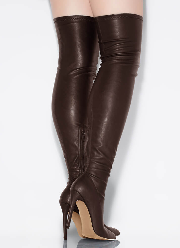 High Point Faux Leather Thigh-High Boots BROWN