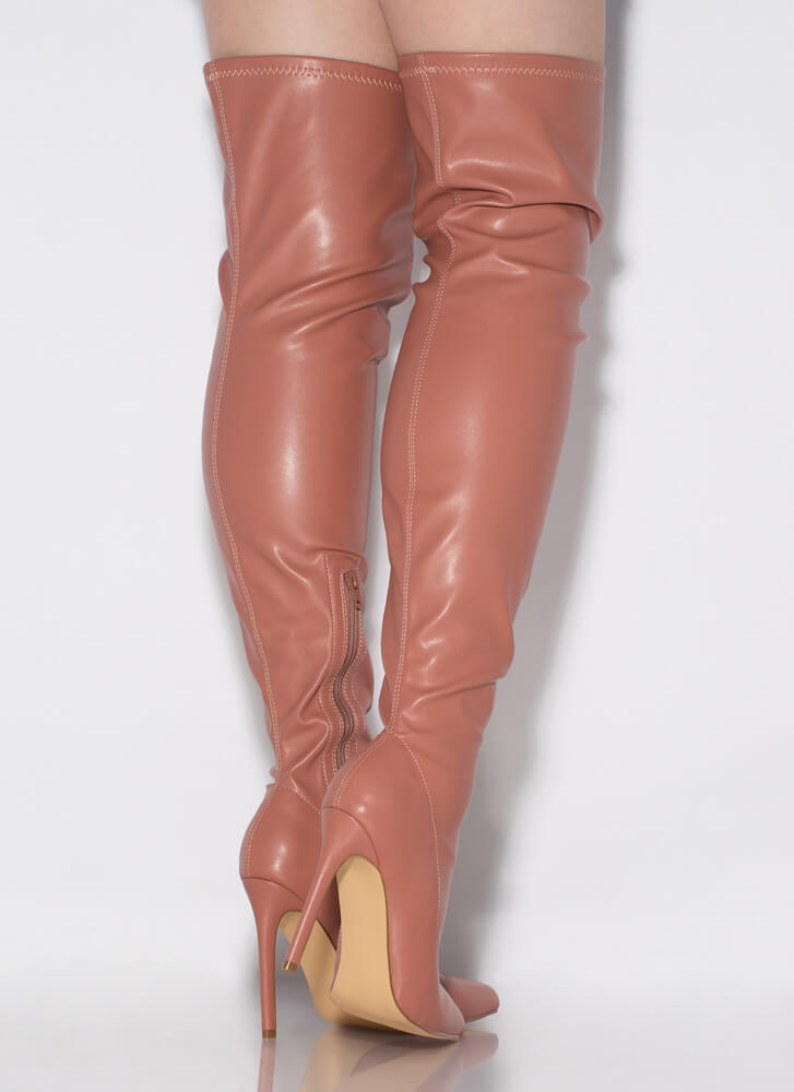 High Point Faux Leather Thigh-High Boots ROSE