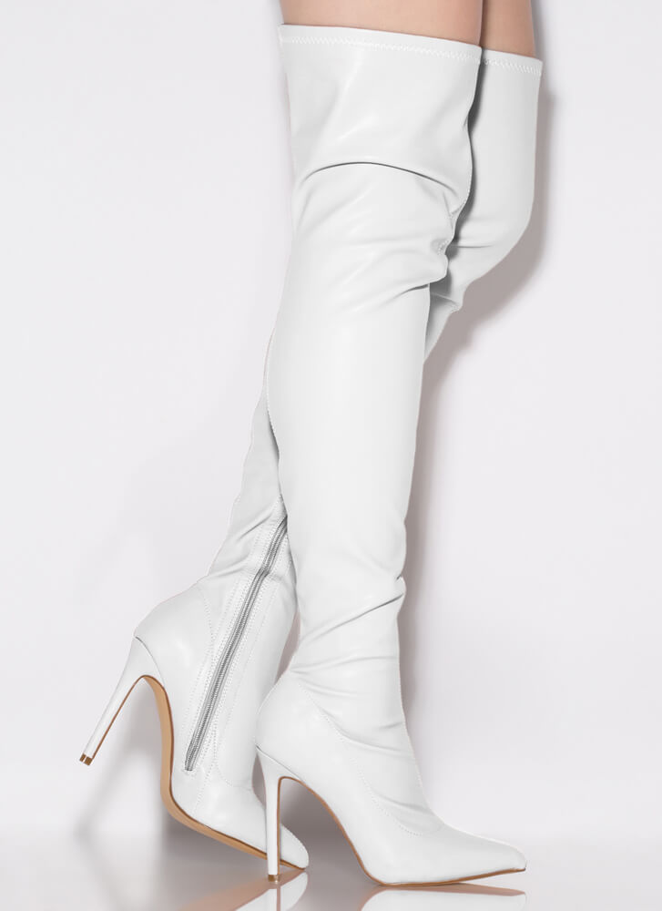 High Point Faux Leather Thigh-High Boots WHITE