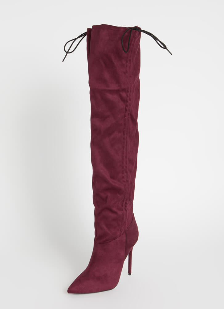 Shirr Thing Scrunched Thigh-High Boots WINE