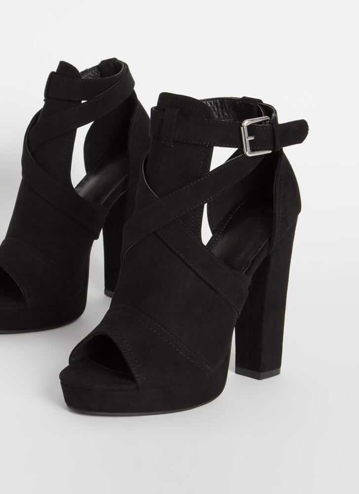 We Made It Strappy Cut-Out Chunky Heels BLACK