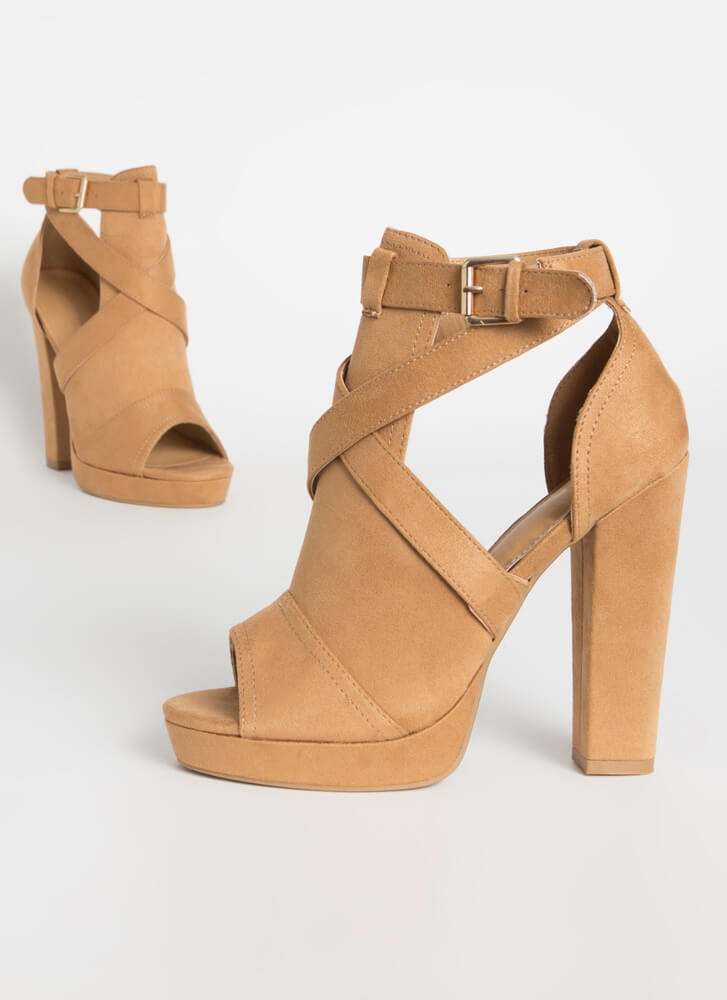 We Made It Strappy Cut-Out Chunky Heels CAMEL