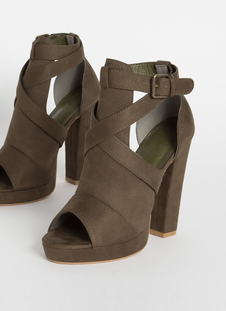 We Made It Strappy Cut-Out Chunky Heels OLIVE