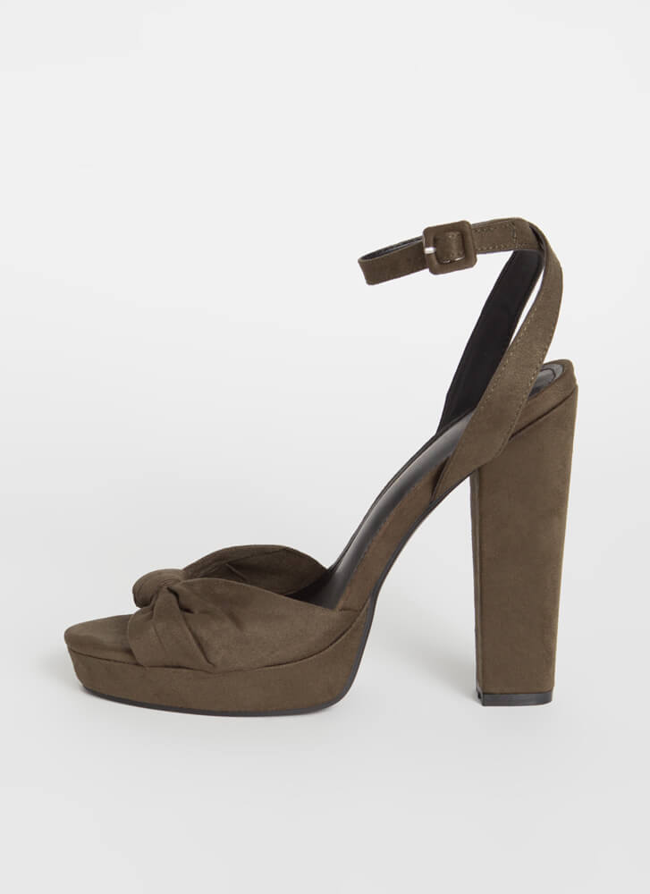 Sweetheart Chunky Knotted Platform Heels OLIVE