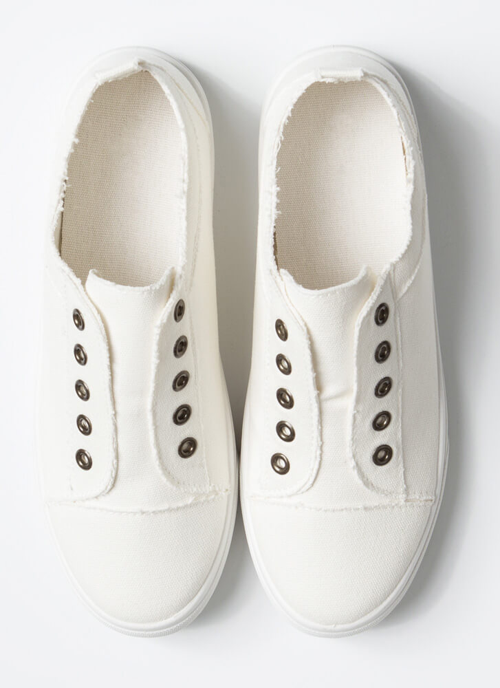 Unfinished Business Canvas Sneakers WHITE