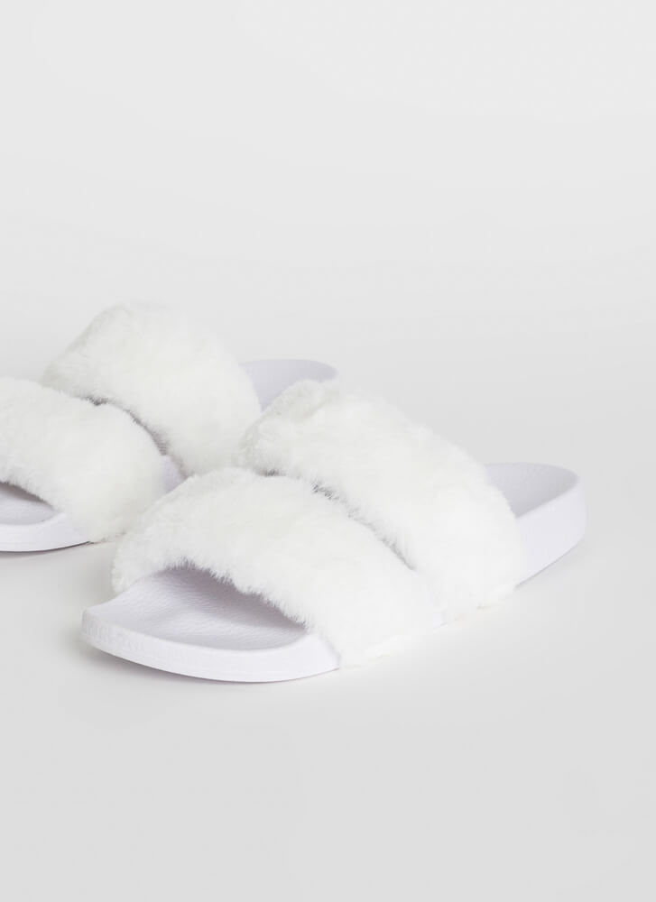 My Soft Side Faux Fur Slide Sandals WHITE