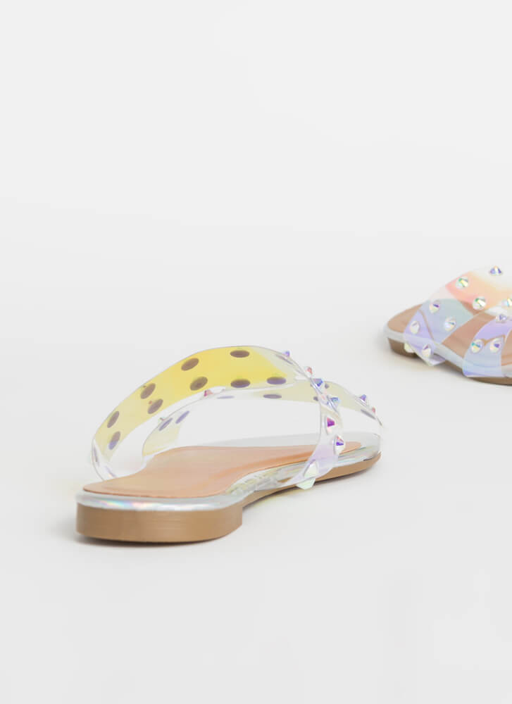 Holographic Memory Studded Slide Sandals IRIDESCENT