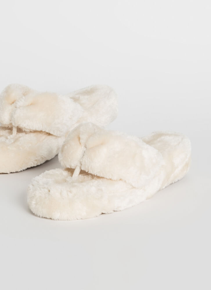 Head In the Clouds Furry Thong Sandals WHITE