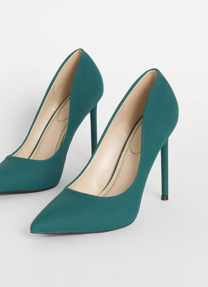 Unconditional Love Pointy Stiletto Pumps EMERALD