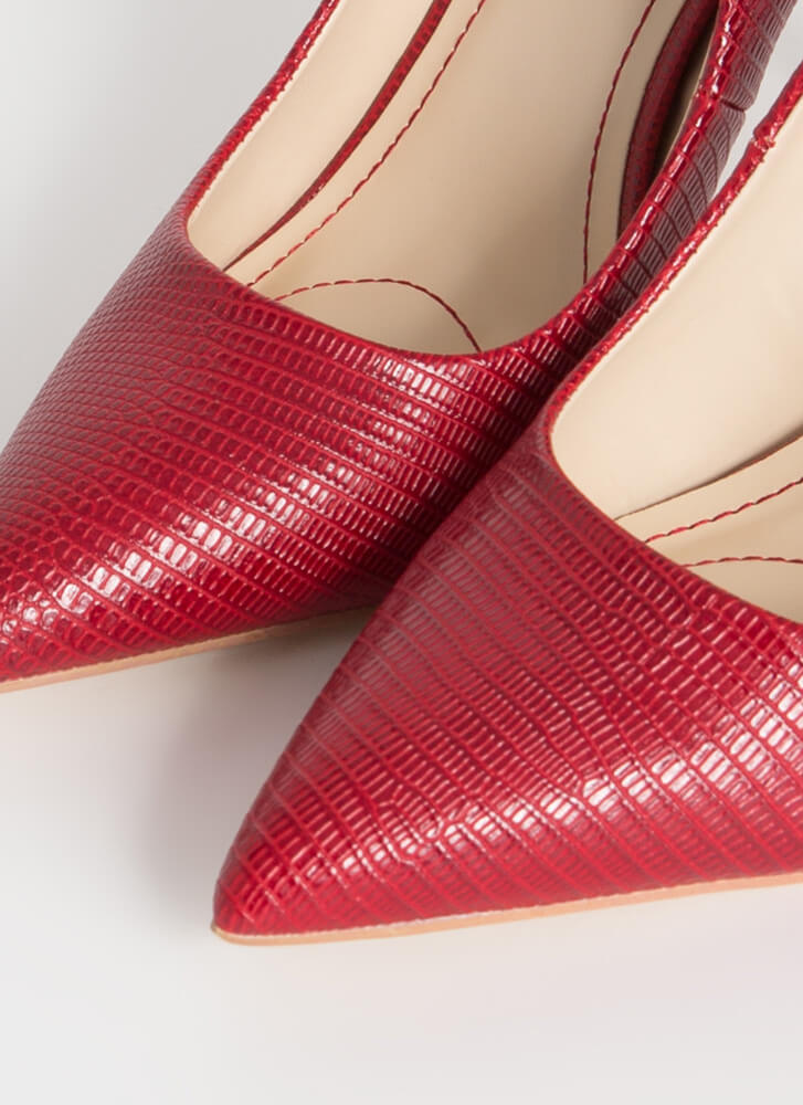 Leaping Lizards Pointy Reptile Pumps RED