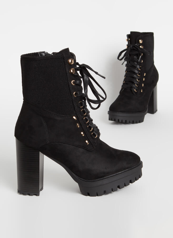 Rugged Chic Chunky Lug Sole Booties BLACK