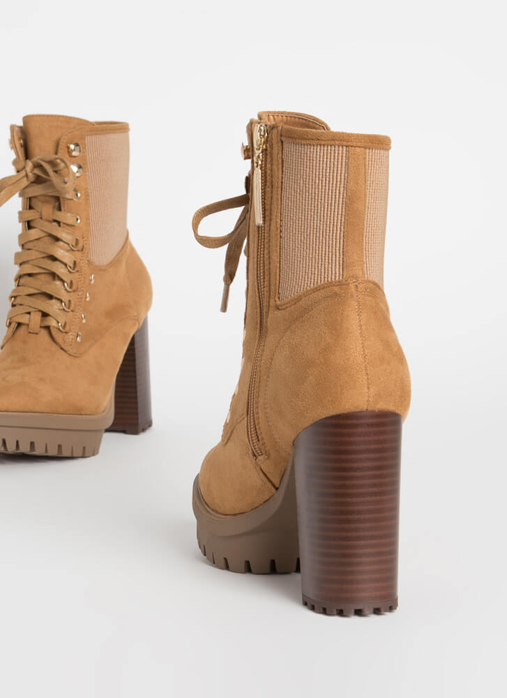 Rugged Chic Chunky Lug Sole Booties CAMEL