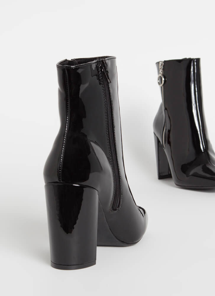 Ring Ring Chunky Faux Patent Booties BLACK