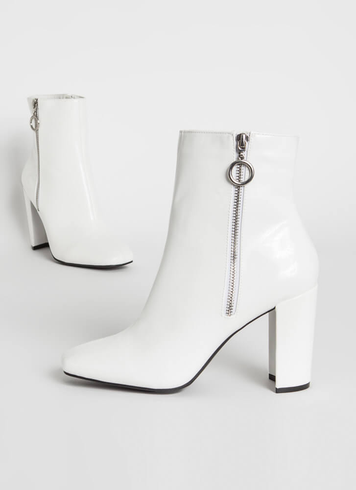 Ring Ring Chunky Faux Patent Booties WHITE