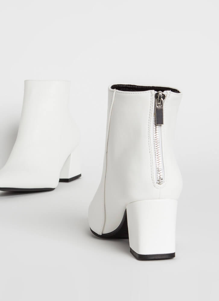 Get It Done Pointy Block Heel Booties WHITE