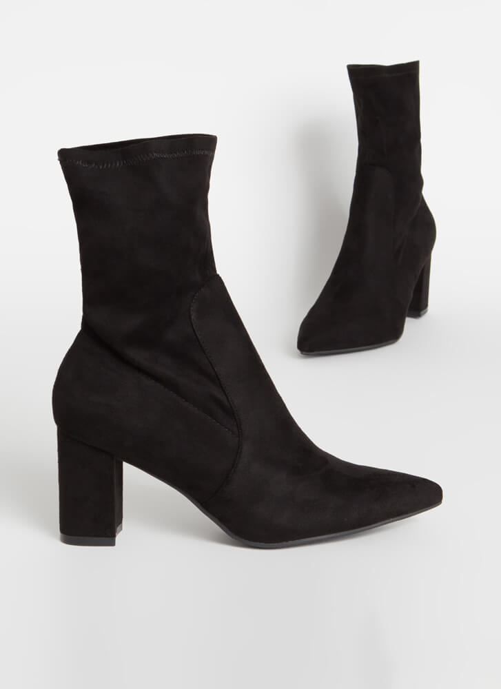 Must-Have Chunky Faux Suede Sock Booties BLACK