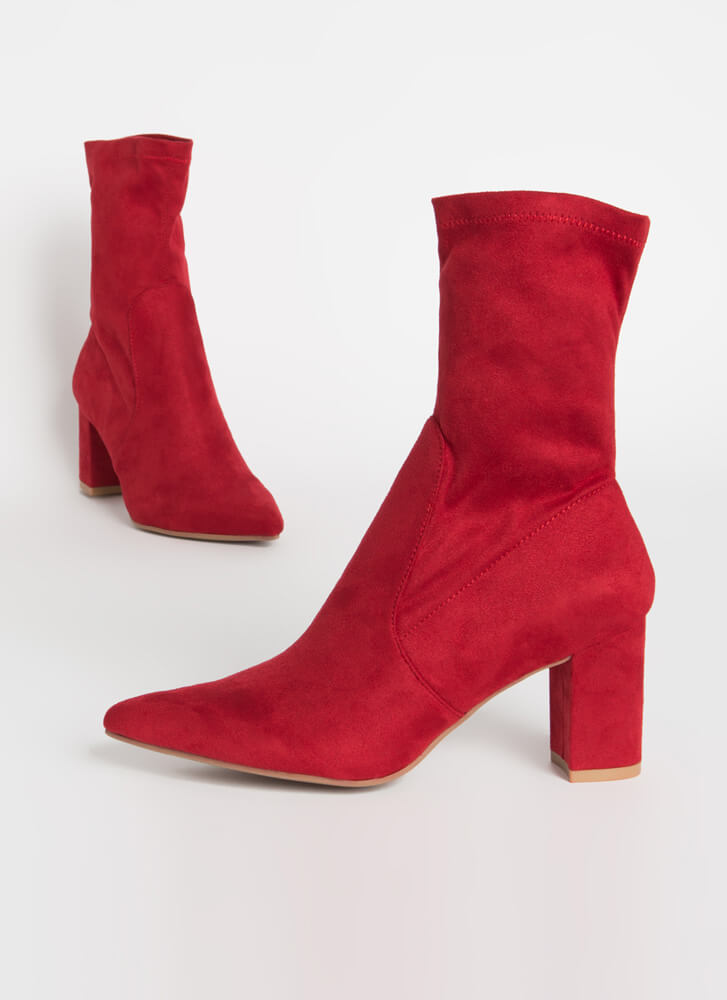 Must-Have Chunky Faux Suede Sock Booties RED