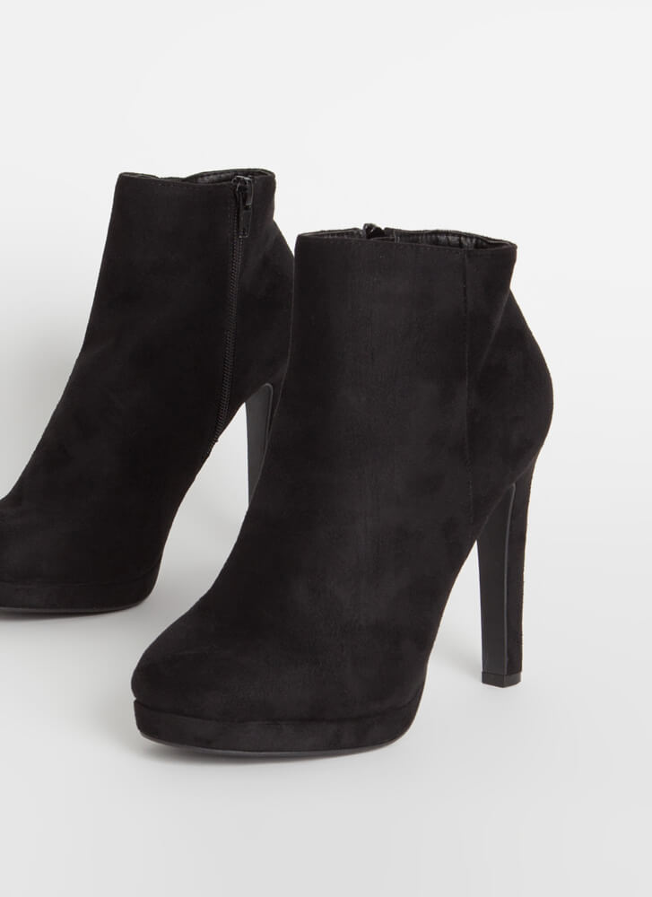 Simply Perfect Faux Suede Booties BLACK