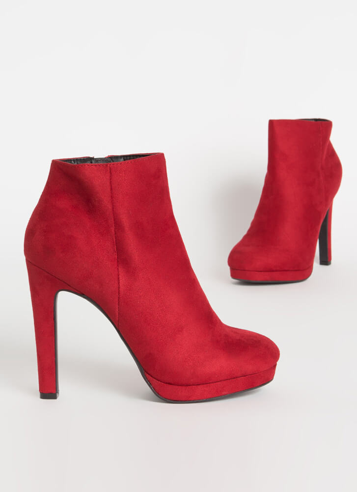 Simply Perfect Faux Suede Booties RED
