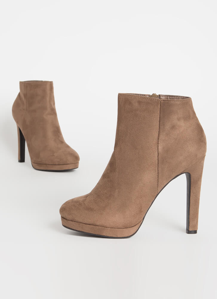 Simply Perfect Faux Suede Booties TAUPE