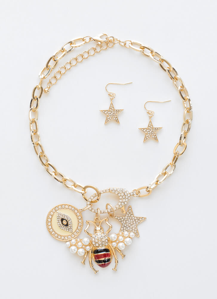 Eye Will Bee A Star Jeweled Necklace Set GOLD