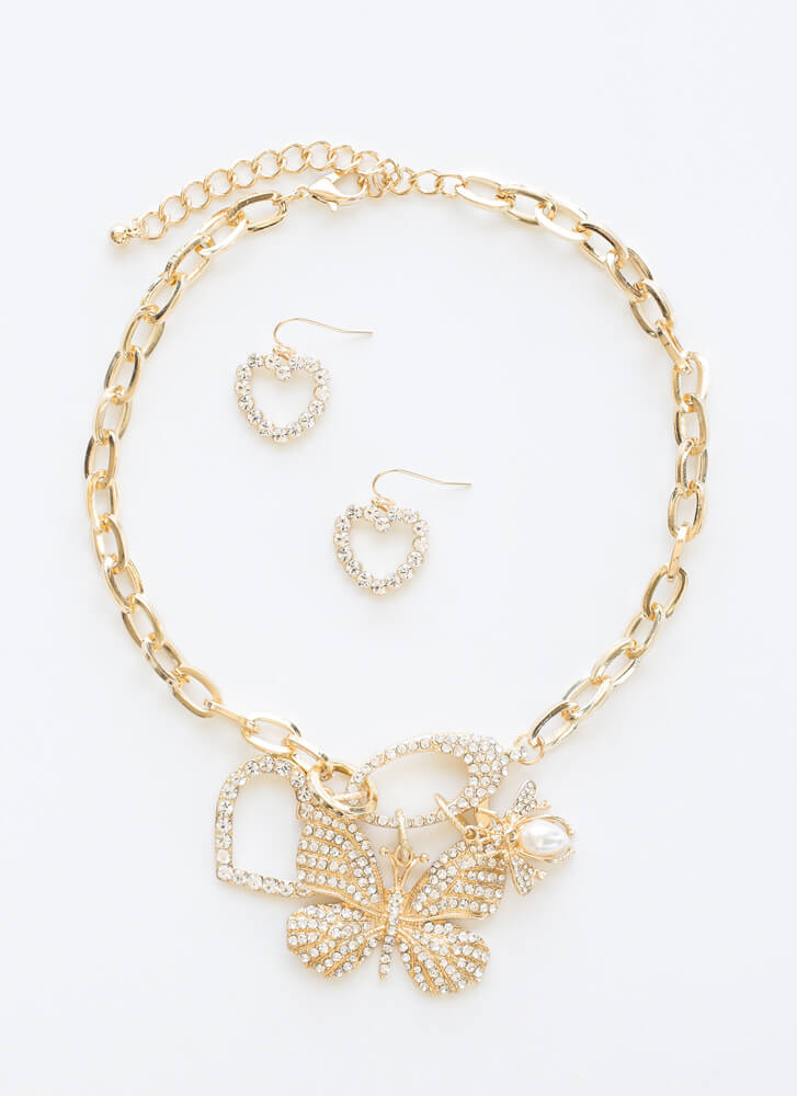 I Heart Butterflies Jeweled Necklace Set GOLD