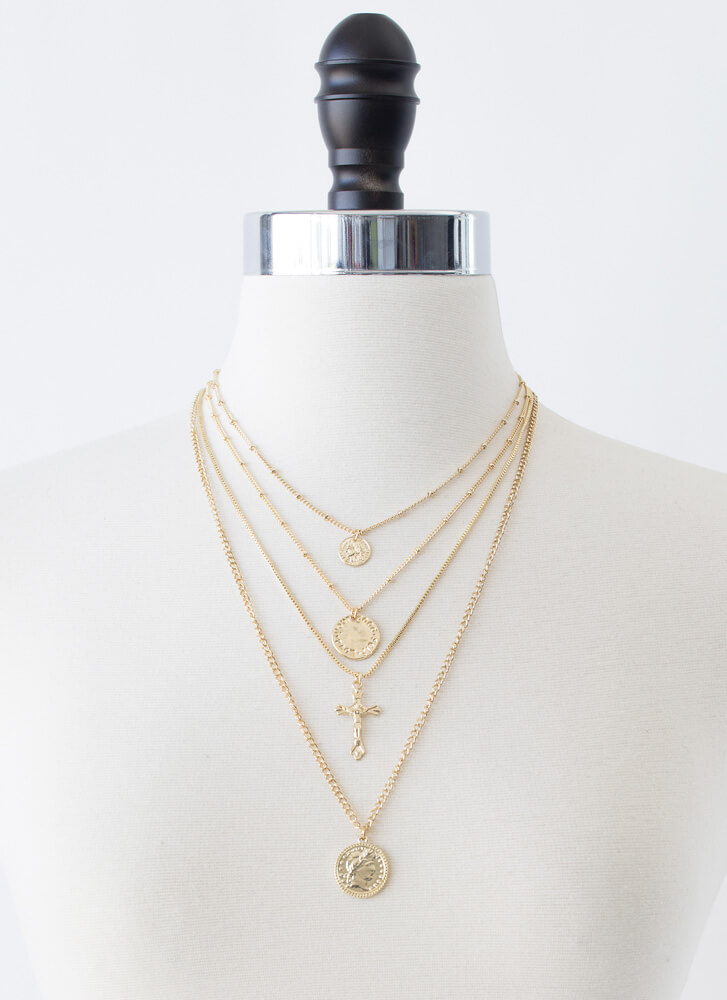 Coin Toss Cross Charm 4-Necklace Set GOLD