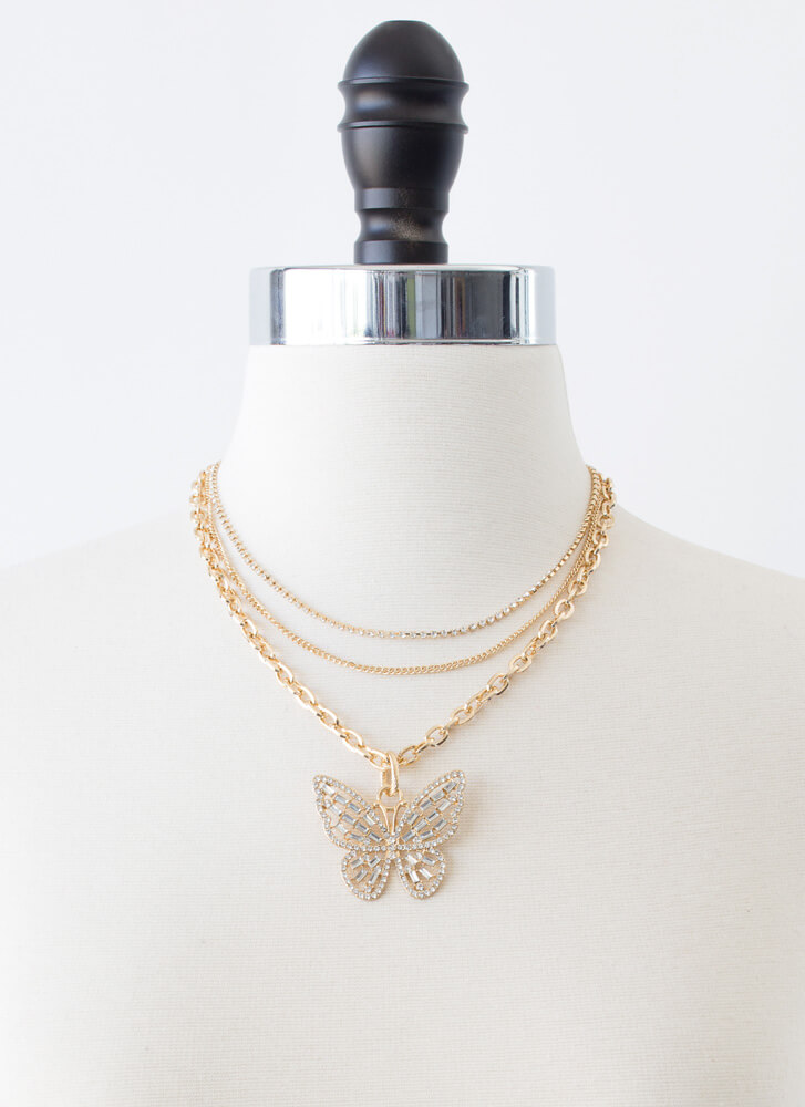 Sparkly Butterfly Jeweled 3-Necklace Set GOLD