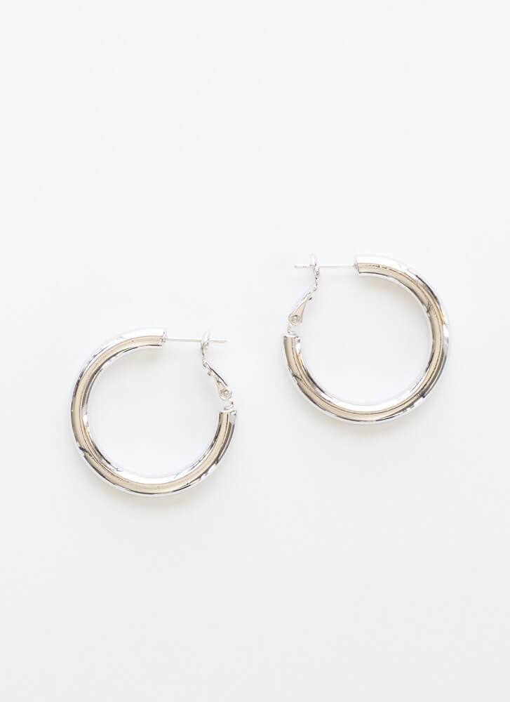 Ride The Tube Gold-Dipped Hoop Earrings SILVER