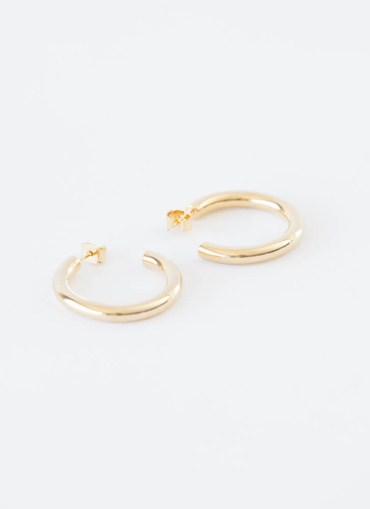 Ride The Tube Gold-Dipped Partial Hoops GOLD