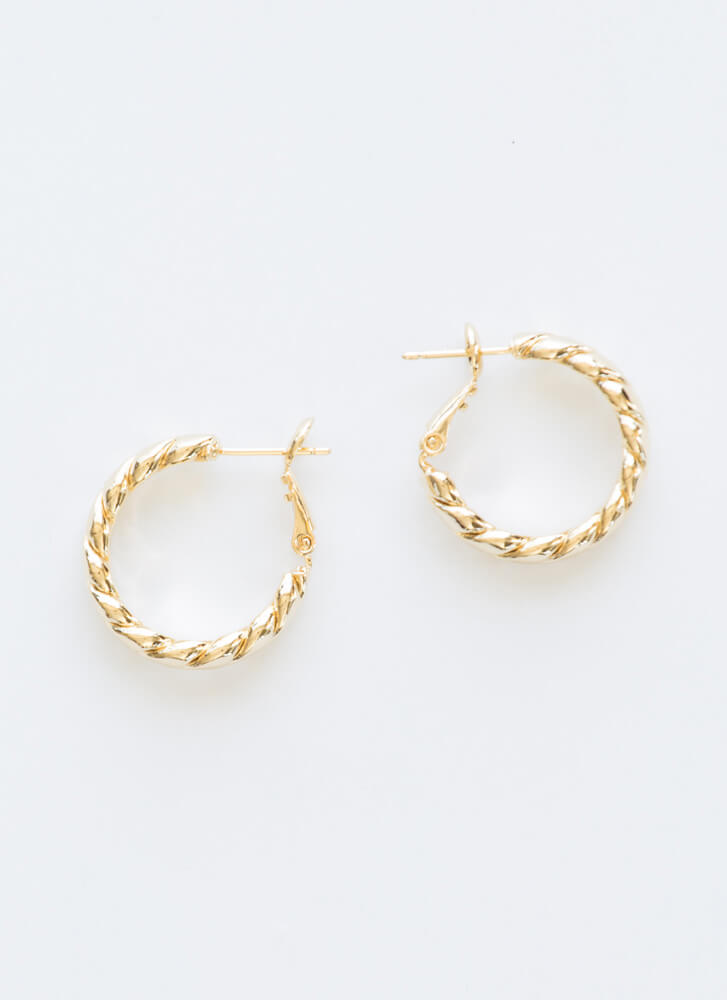 Do The Trick Small Twisted Hoop Earrings GOLD