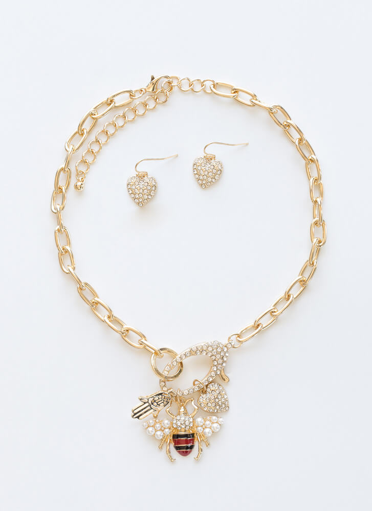 Bee Creative Jeweled Necklace Set GOLD