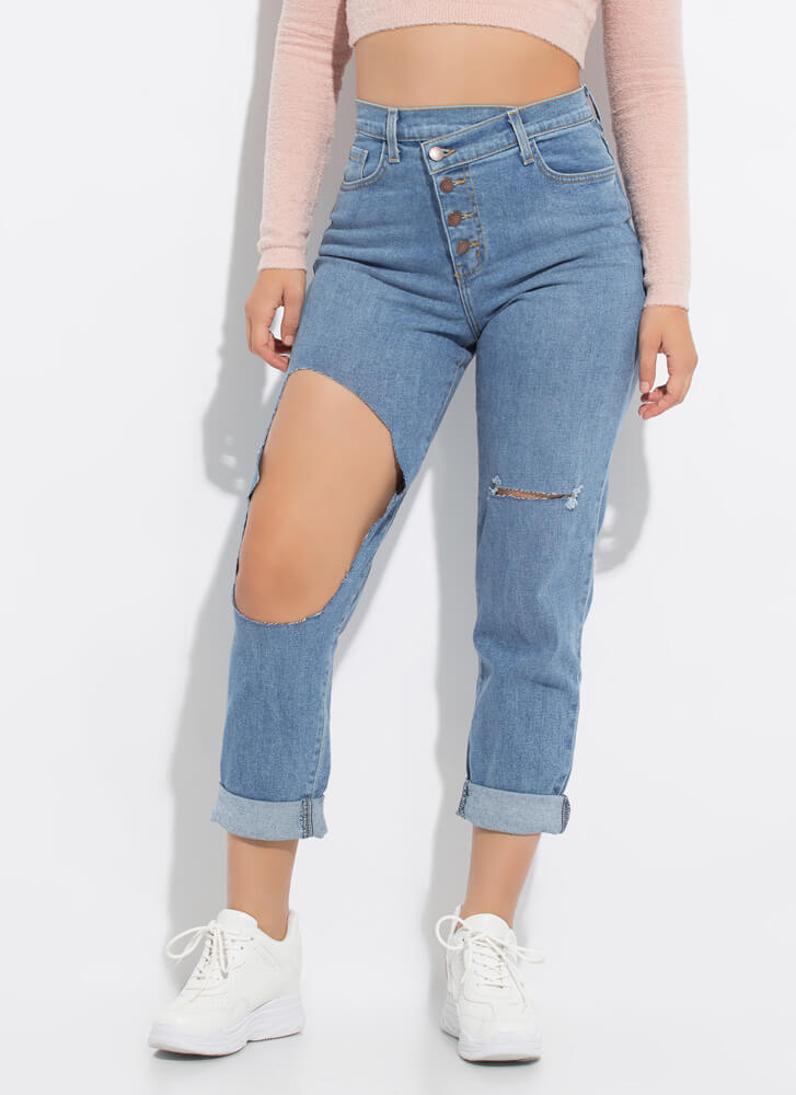 It's A Wrap Cut-Out Button-Fly Jeans MEDBLUE