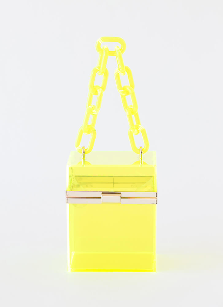 Clear Conscience Chain Strap Box Purse YELLOW