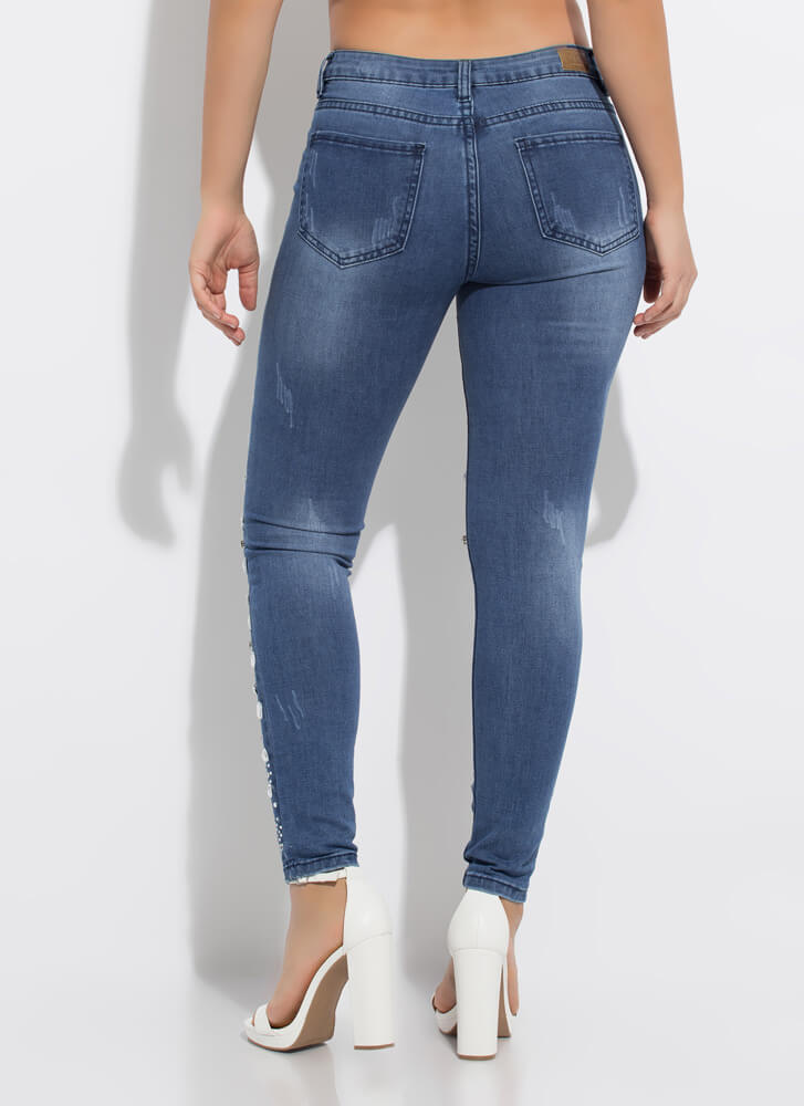 It's Crystal Clear Jeweled Skinny Jeans DKBLUE