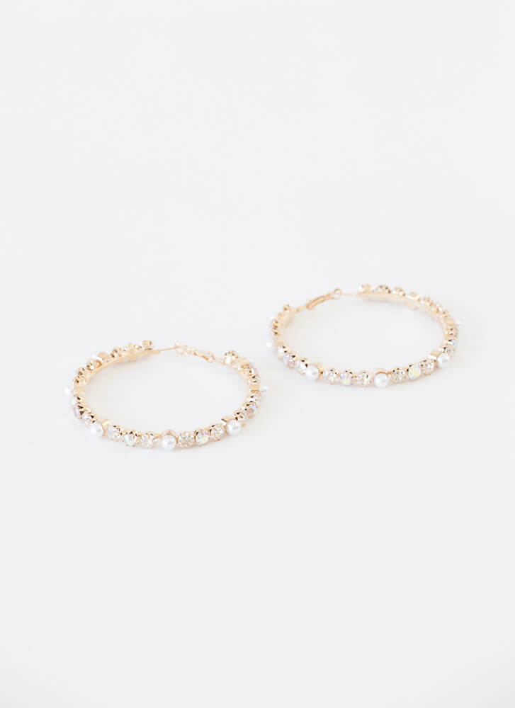 Diamonds And Pearls Oversized Hoops GOLD