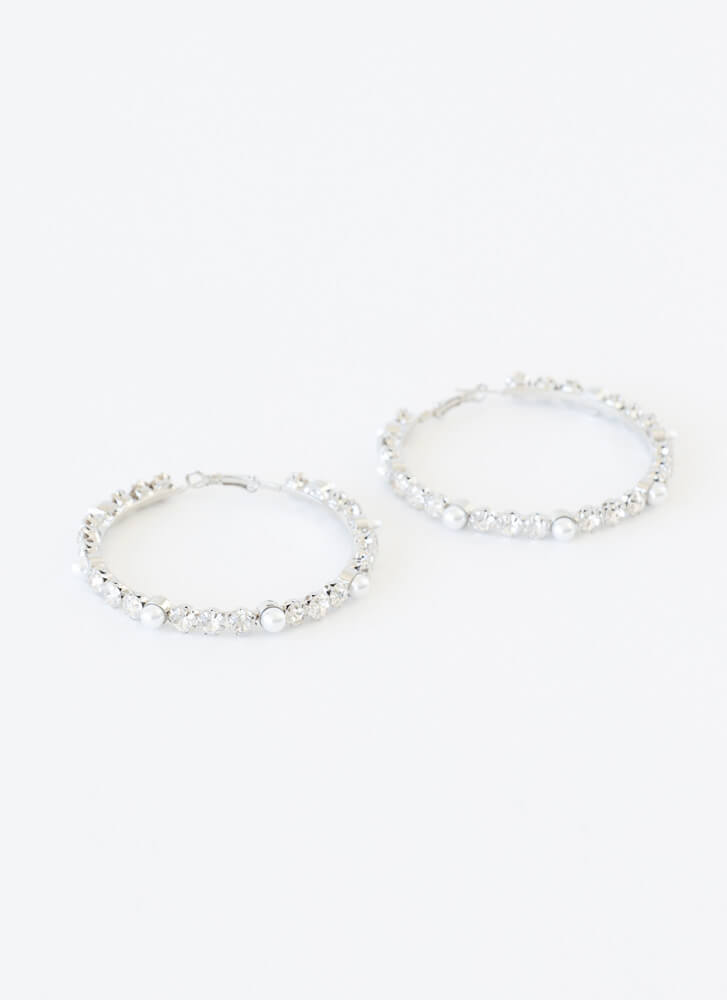 Diamonds And Pearls Oversized Hoops SILVER