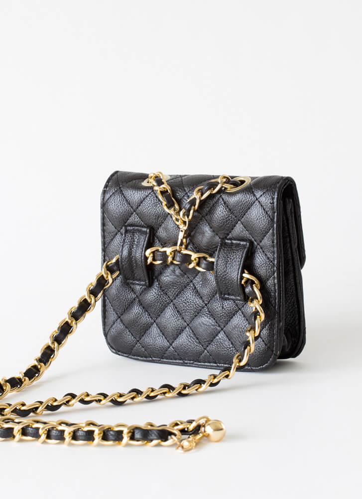 Chain-ge Quilted Crossbody Mini Purse BLACK