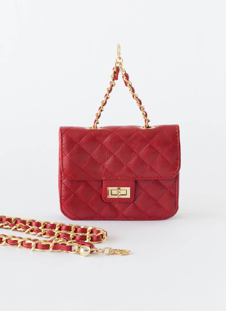 Chain-ge Quilted Crossbody Mini Purse RED