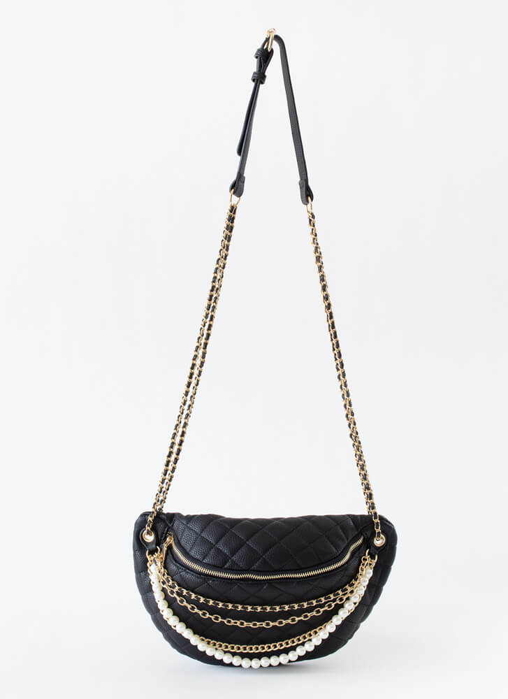 Chains Or Pearls Oversized Half-Moon Bag BLACK