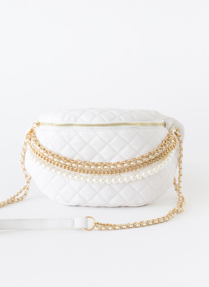 Chains Or Pearls Oversized Half-Moon Bag WHITE