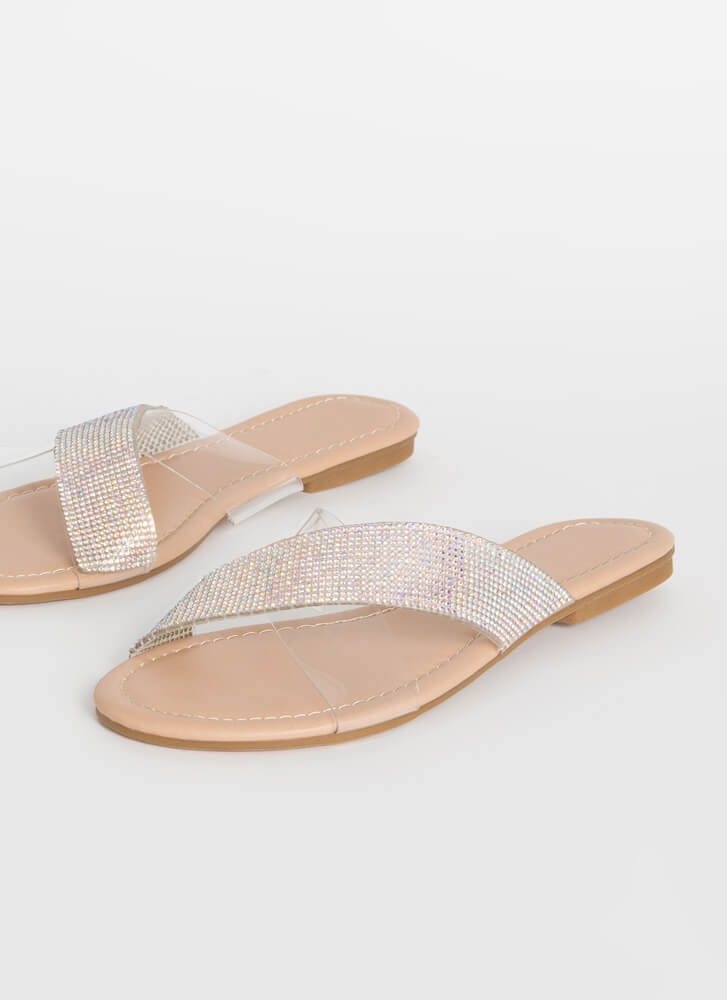 Gleam Team Jeweled Clear Strap Sandals NUDE