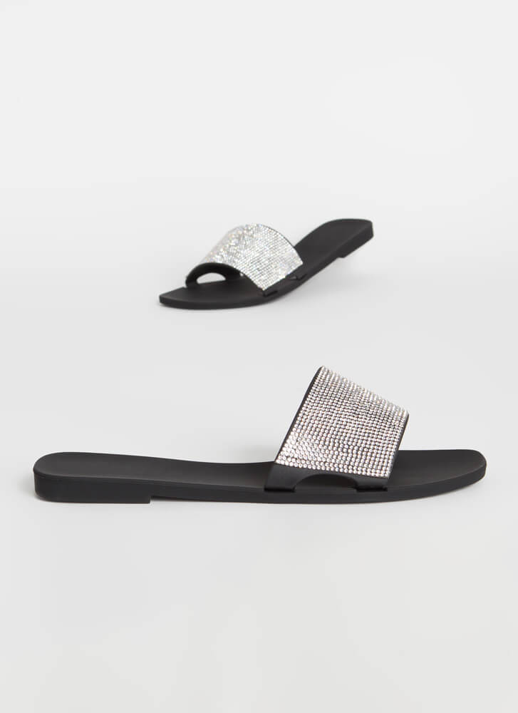 Glam Me Up Rhinestone Slide Sandals BLACK